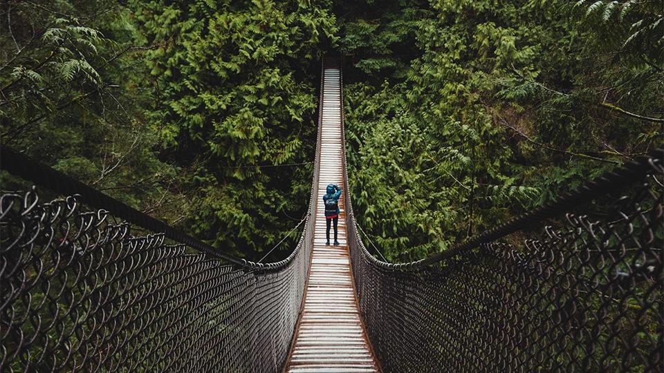 Diracs value: Courage. Man walking over a big hanging bridge.